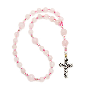 Pink Rose Quartz Anglican Prayer Beads