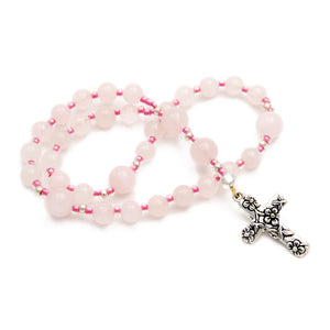 Ladies Anglican Prayer Beads Pink Rose Quartz with Floral Cross