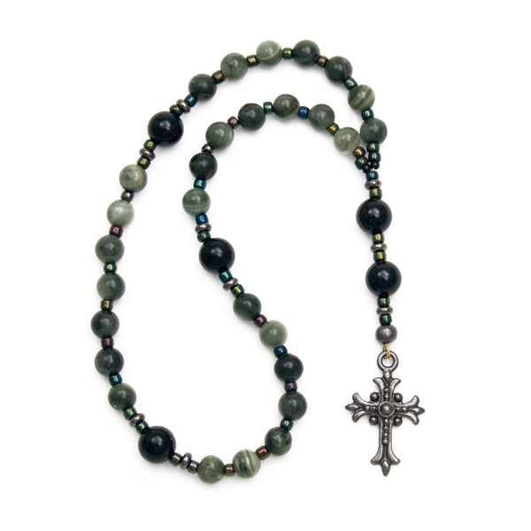 Green Jasper & Black Onyx Anglican Rosary Prayer Beads