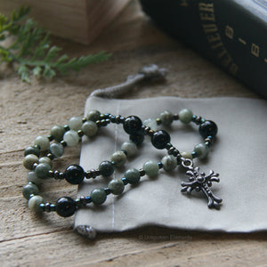 Men's Prayer Beads Green Jasper & Black Onyx by Unspoken Elements