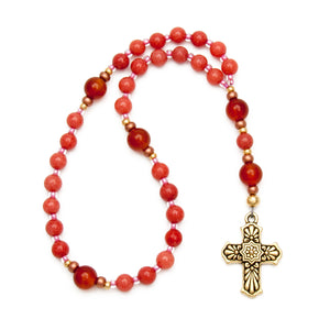 Pink Dolomite & Carnelian Anglican Rosary with Gold Cross