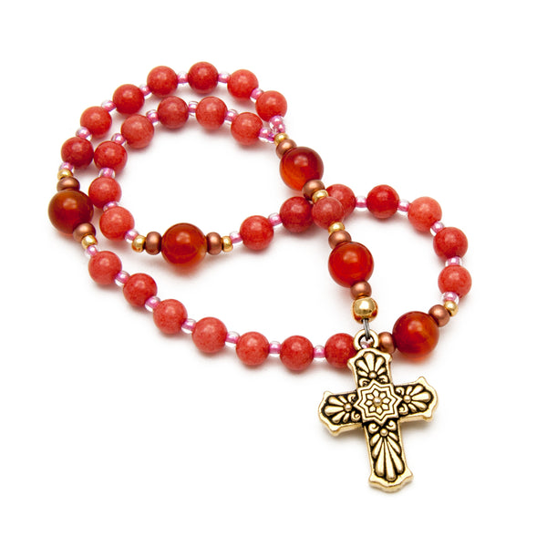 Ladies Pink Christian Prayer Beads by Unspoken Elements