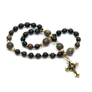 Dark Ebony Wood Christian Prayer Beads by Unspoken Elements