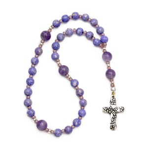 Purple Amethyst & Riverstone Anglican Prayer Beads with Floral Cross