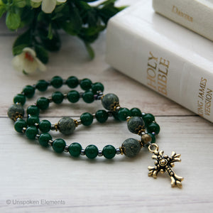Green Serpentine Christian Prayer Beads by Unspoken Elements