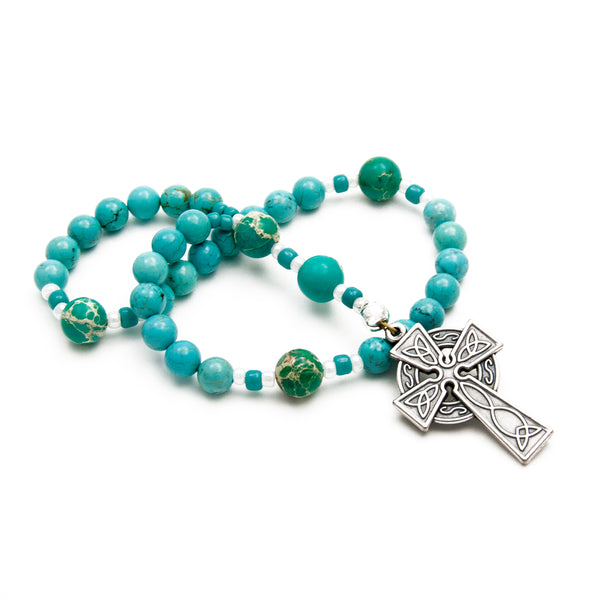Turquoise Celtic Protestant Prayer Beads