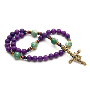 Purple Dolomite & Jade Anglican Prayer Beads