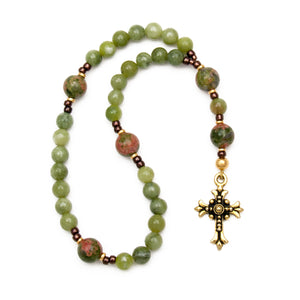 Green Jade & Unakite Anglican Prayer Beads