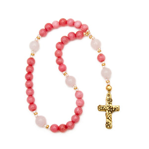Pink Rhodonite Anglican Prayer Beads