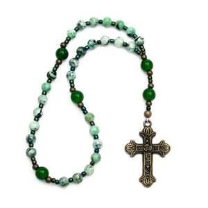 Green Jade & Agate Anglican Prayer Beads