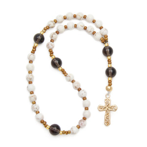 Anglican Prayer Beads White Magnesite and Smoky Quartz