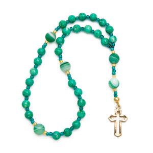 Green Jasper & Agate Protestant Prayer Beads with Gold Cross