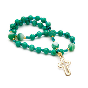 Anglican Prayer Beads Green Agate & Jasper with Gold Cross