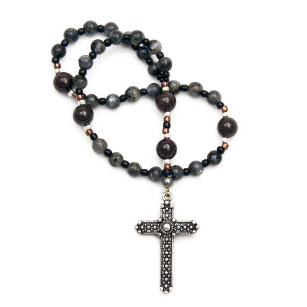 Anglican Prayer Beads for Men Labradorite and Garnet Gemstones