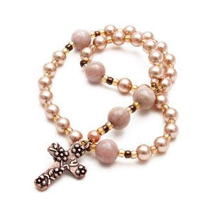 Rose Gold Floral Prayer Beads