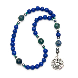 Lapis Blue & Azurite Labyrinth 33-Bead Anglican Rosary