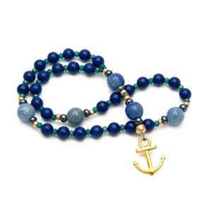 Lapis Blue Swarovski & Blue Aventurine Anglican Prayer Beads with Gold Anchor Charm