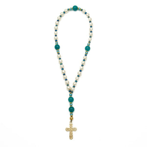 White & Blue Anglican Prayer Beads Unspoken Elements