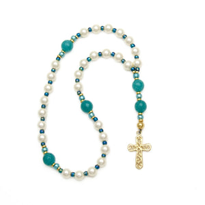 White Pearl & Turquoise Agate Anglican Rosary Unspoken Elements
