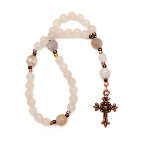 Ladies Protestant Prayer Beads Pink Aventurine