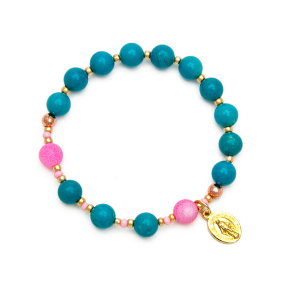 Rosary Bracelet Blue Turquoise Howlite and Pink Agate with Miraculous Medal