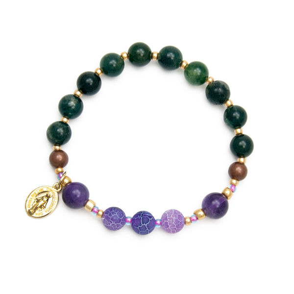 Gemstone Rosary Bracelet with Immaculate Conception Medal