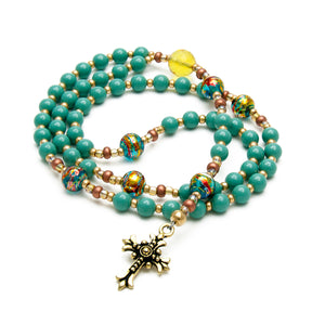 Teal Rosary Beads Handmade in USA by Unspoken Elements