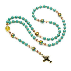 Teal Catholic Rosary Swarovski & Citrine