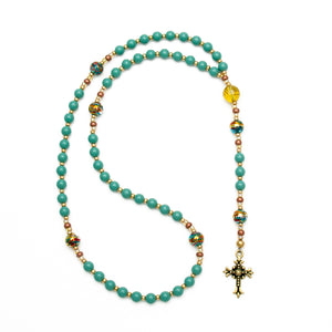 Beautiful Teal Rosary Beads by Unspoken Elements