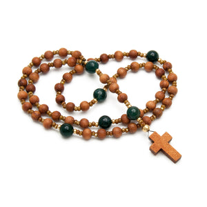 Natural Wood & Green Agate Rosary