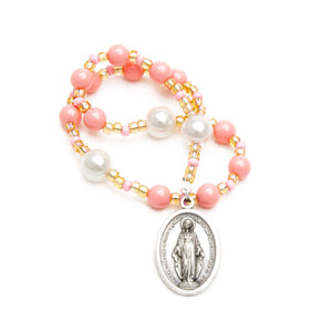 Immaculate Conception Chaplet - Peach Swarovski Pearl