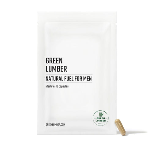 Green Lumber Natural Fuel For Men package front with capsule leaning against it