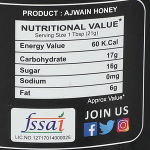 ZAAIKA Organic 100% Pure & Natural Raw Ajwain Honey | No Artifical Flavours Added | Weight Management- (Pack of 375 GM)
