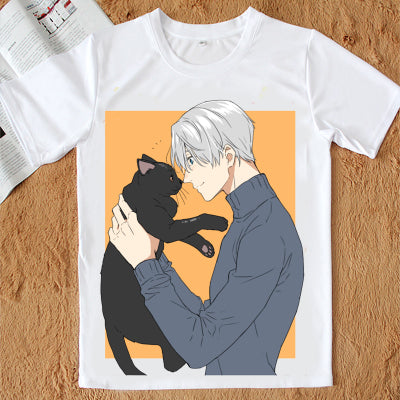 Yuri On Ice | Cat | Tshirt blanc - Chijaco