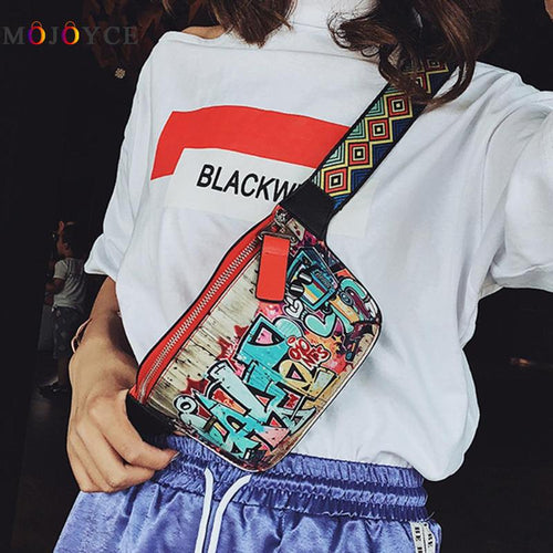 17x13cm Hip-hop Street Fanny Pack Women Leather Graffiti Shoulder Chest Waist Bag Colorful Belt Bag Heuptas Pochete - Chijaco