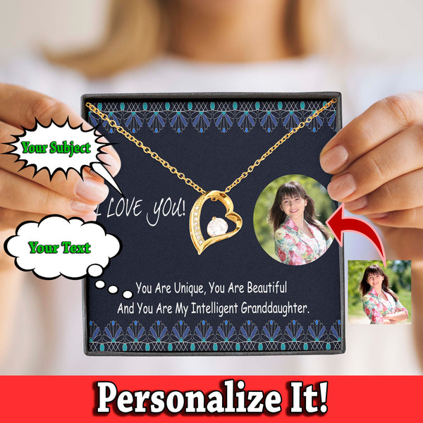 You're Beautiful Nice Gift Granddaughter Jewelry Pendant Necklace Cubic Zirconia W/T Customize Card