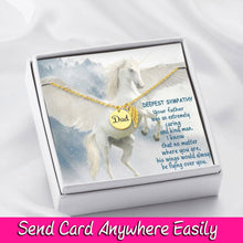 Dad Remembrance Necklace W/T Angel Wing Memorial Pendant  & Custom Message Card