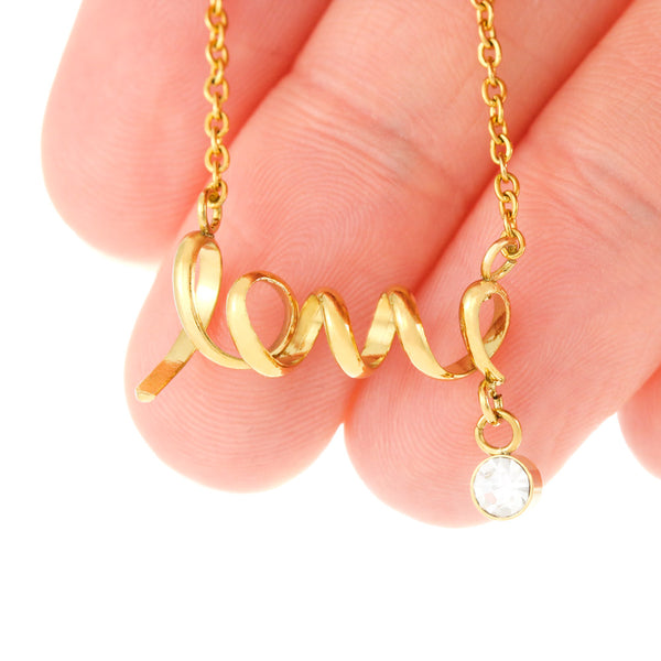 I Miss You So Much Thoughtful Gift CZ Jewelry Script Necklace 18k Gold Finish W/T Customize Card
