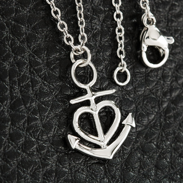 Love You My Wife Best Gift Women Jewelry Anchor Necklace 18k Yellow Gold Finish W/T Customize Card