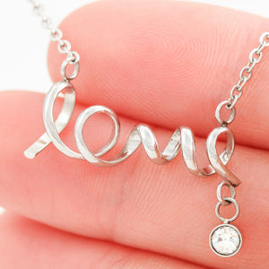 I Love You Grandma Best Gift Trendy Jewelry Script Love Necklace Surgical Steel W/T Customize Card