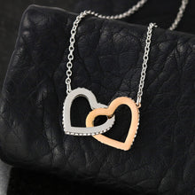 Card Gift for Sister Jewelry Chain Pendant Interlocking Heart Necklace CZ 14k Gold Plated