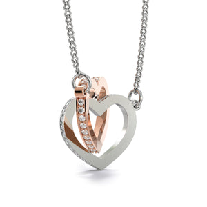 Nice Gift Interlocking Heart Necklace Cubic Zirconia Stones Handmade Jewelry W/T Personalize Card