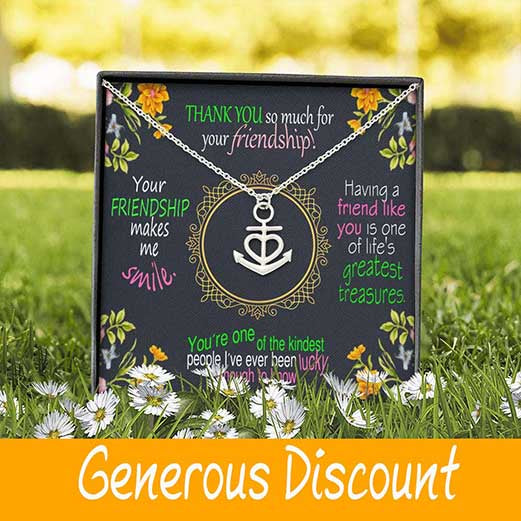 Fashion Necklace Anchor Jewelry Gold Pendant W/T Thank You For Your Friendship Best Wishes Card