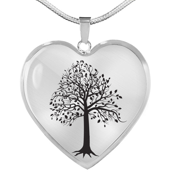Tupelo Tree on SS or 18k GF on Surgical - Heart - Lux. Snake Chain Necklace