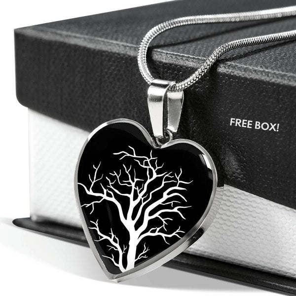 Branch Tree at Night – Heart Charm – Luxury SS or 18k GF on Surgical Steel Bangle