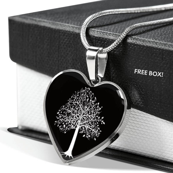 Tupelo Tree at Night - Heart - Lux. SS or 18k GF on Surgical Steel Snake Chain Necklace