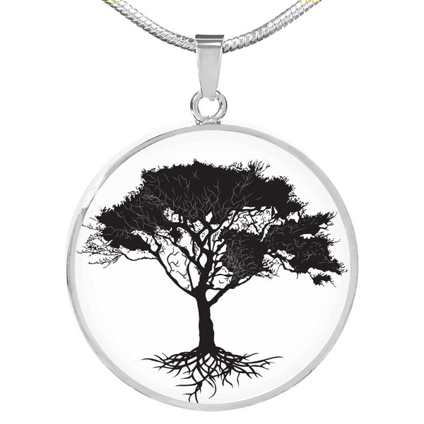 Umbrella Tree on White Lux. SS or 18k GF on Surgical Steel Snake Chain Necklace