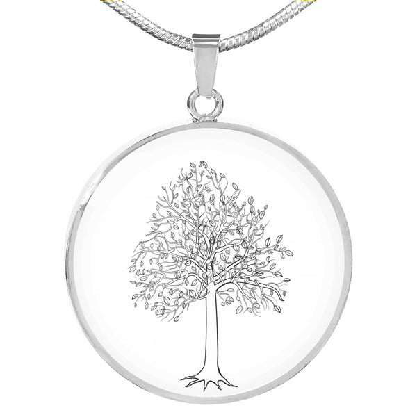 Tupelo Tree on White - Circle -Lux. SS or 18k GF on Surgical Steel Snake Chain Necklace