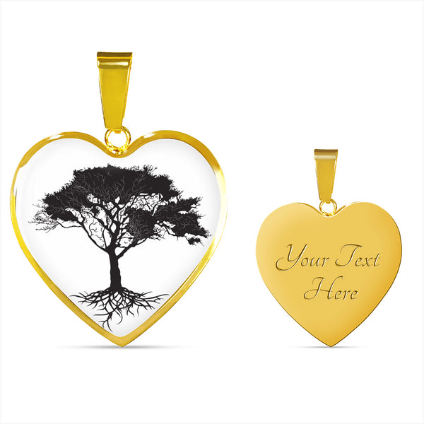 Umbrella Tree on White - Heart - Lux. SS or 18k GF Snake Chain Necklace