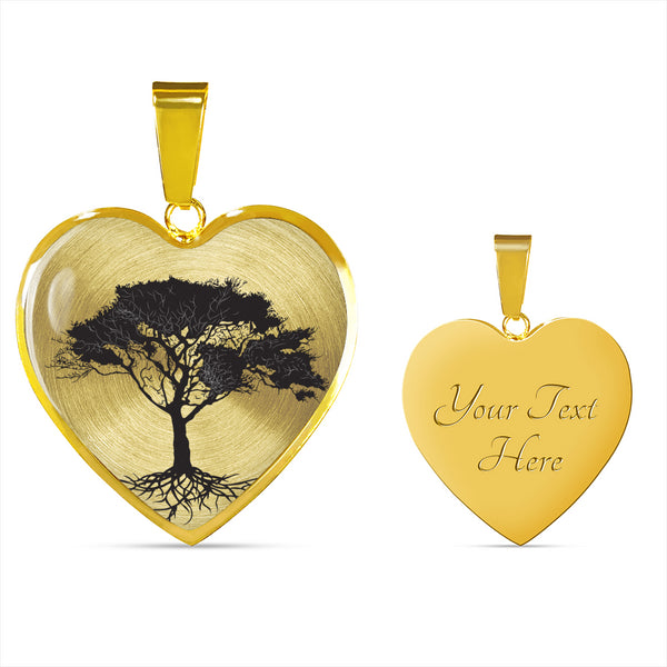 Umbrella Tree on SS or 18k GF on Surgical - Heart - Lux. Snake Chain Necklace